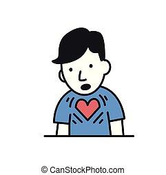 coeur, illustration., plat, jeune, isolé, arrière-plan., vecteur, conception, attack., icon., blanc, homme