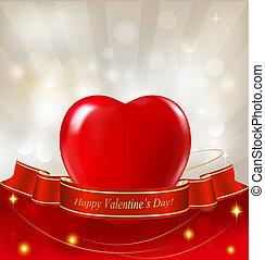 coeur,  Illustration, Ruban, petite amie, fond, vecteur, jour, rouges