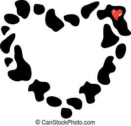 coeur, illustration., vache, cadre, taches, vecteur