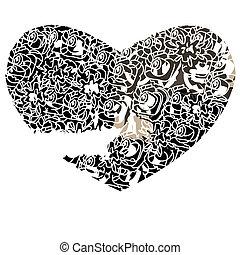 coeur, illustration., vecteur, gothique, fond, blanc, style