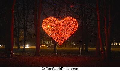 coeur, incandescent, détourné, rouges