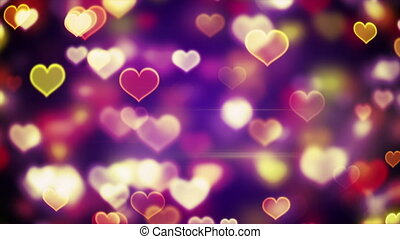 coeur, incandescent, loopable, formes, lumières, bokeh, fond