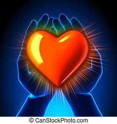 coeur, incandescent, mains