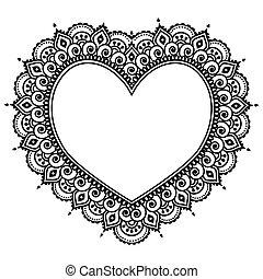 coeur, indien, mehndi, henné, conception