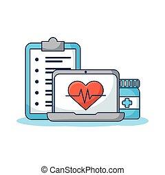 coeur, informatique, ordre, ordinateur portable, cardio, ...
