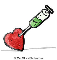 coeur, injection, dessin animé