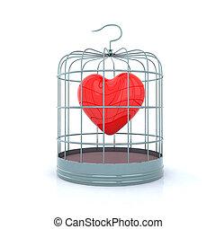 coeur, intérieur, cage d'oiseaux