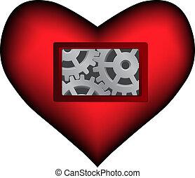 coeur, intérieur, sombre, vecteur, mécanique, rouges