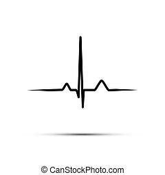 coeur, isolé, arrière-plan., taux, vecteur, noir, ligne, blanc