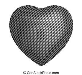 coeur, isolé, carbone, fibre, forme