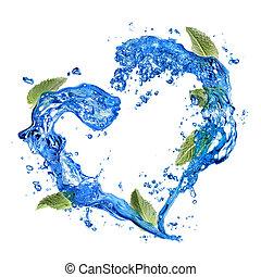coeur, isolé, eau, éclaboussure, blanc vert, menthe