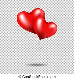 coeur, isolé, fond, ballons, transparent, rouges