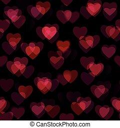 coeur, isolé, formes, arrière-plan noir, rouges