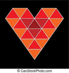 coeur, isolé, vecteur, 3d, rouges, icône