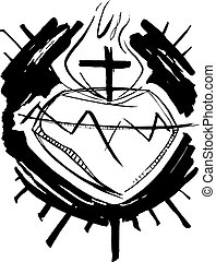coeur, jésus christ, illustration, sacré