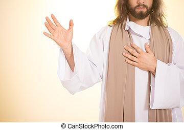 coeur, jésus, tenant main