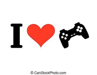 coeur, jeu, amour, gamepad., pc, joueurs, console., joystick., informatique, logo, games., aimer