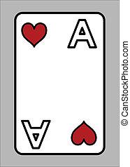 coeur, jeu, as, -, vecteur, carte