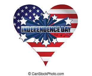 coeur, jour, illustration, indépendance