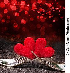 coeur, jour, petite amie, fourchettes