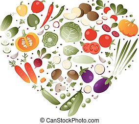 coeur, légumes, forme