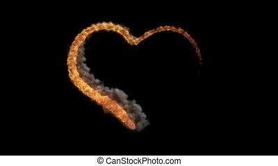 coeur, ligne, créer, brûlé