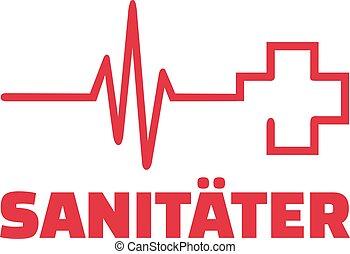 coeur, ligne, croix, rouges, infirmier