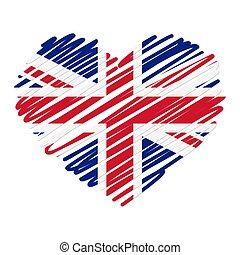 coeur, ligne, -, dessin, royaume-uni