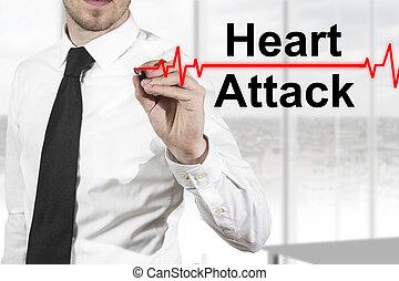 coeur, ligne, docteur, attaque, pulsation