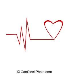 coeur, ligne, graphique, rouges, cardiogramme
