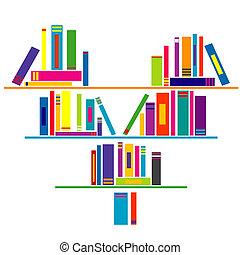 coeur, livres, étagère livre, formé
