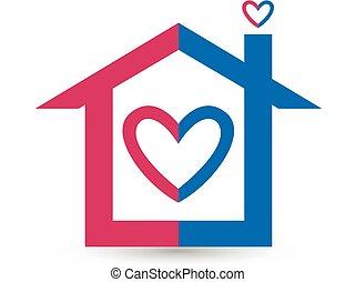 coeur, logo, amour, maison