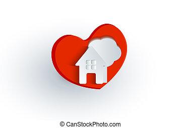 coeur, logo, arbre, amour, maison