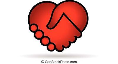 coeur, logo, poignée main, vecteur, rouges