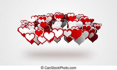 coeur, loopable, formes, fond, blanc rouge