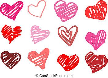 coeur, love., illustration.