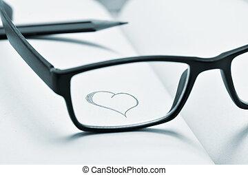 coeur, lunettes, cahier, duotone, dessiné