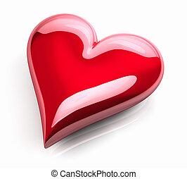 coeur, lustré, rouges