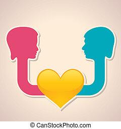 coeur, mâle, femme, sym, figure