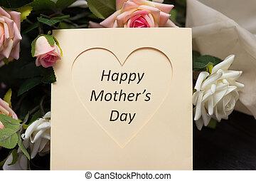 coeur, mères, bois, rustique, roses, planche, jour, carte