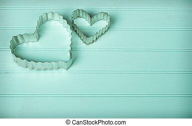 coeur, métal, formé, coupeurs, petit gâteau