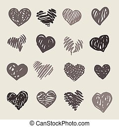 coeur, main, dessiné