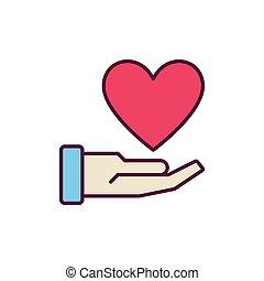 coeur, main, vecteur, créatif, rouges, icône