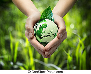 coeur, -, main, vert, gra, mondiale