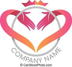 coeur, mains, couronne, logo