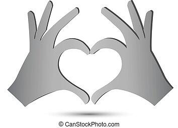 coeur, mains, icône