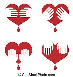 coeur, mains, il, humain, icônes