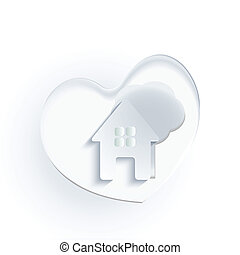 coeur, maison, arbre, logo, blanc