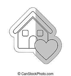 coeur, maison, autocollant, monochrome, contour, icône