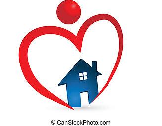 coeur, maison, figure, logo